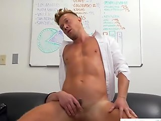 Handsome stud bouncing on fat piston for a raise