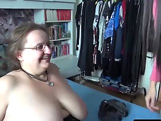 OmaHunter Teen girl licks chubby mature big tits