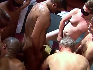 Pale thin amateur with chubbier friend at a gangbang party